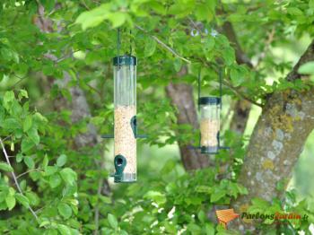 perchoir et distributeur de nourriture pour oiseaux